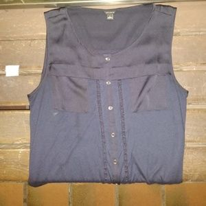 ANNE TAYLOR BLUE BLOUSE SLEEVELESS,